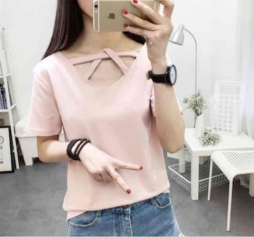 《新品》デザイン Tシャツ サイズL ピンク