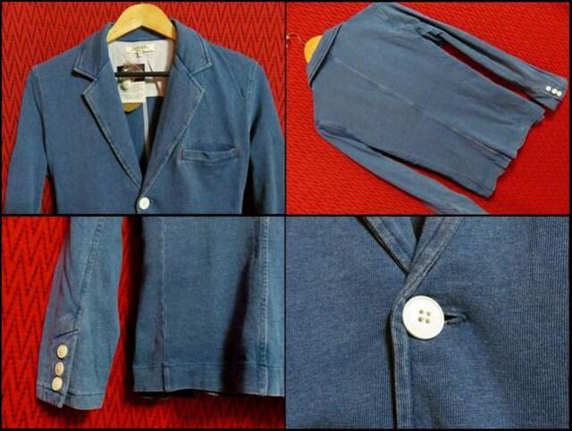 インディゴ染めカットデニムテーラードJKT/BLUE/M 特価 < 男性ファッションの