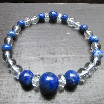 ラピスラズリx水晶ブレスレット
