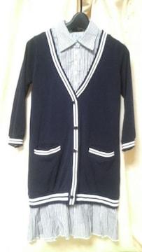 重ね着に見えるシャツとカーディガンワンピース 七分袖 紺色