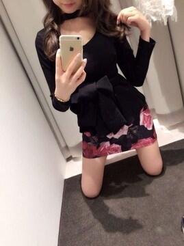 最新完売★デイライルノアール★クラシックローズプリントタイトスカート ブラックF 新品タグ付