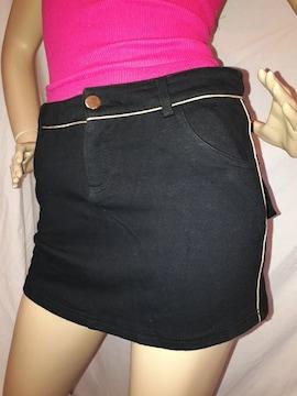 ANAP ゴールドライン スウェット ミニ スカート 黒