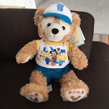 ダッフィDuffyぬいぐるみ人形ディズニーパークス購入タグ付き