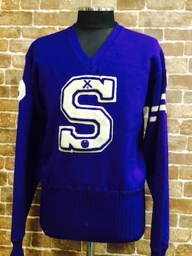 50's 60's ビンテージ 紫 ワッペン付き レタード ニット セーター 古着 ロカビリー