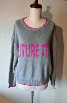 GUグレーのざっくりセーター