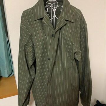 GU☆カーキ★ストライプ☆ビックシャツサイズXL