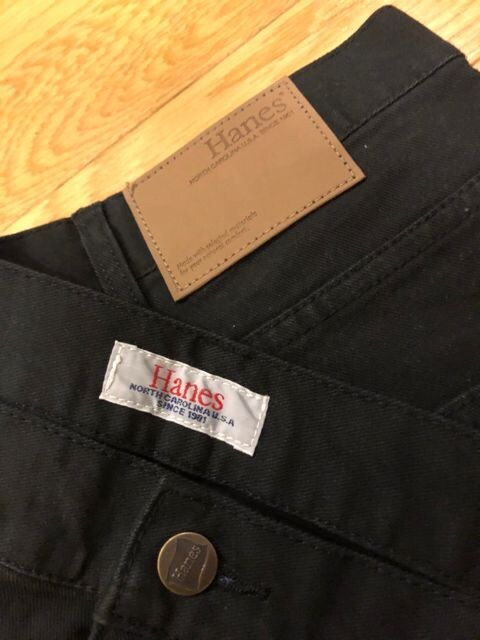Hanes ヘインズ  黒 ストレートデニム  ストレッチ size120 W46 < 男性ファッションの