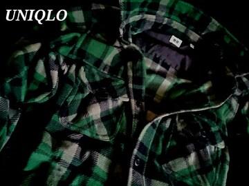 【UNIQLO】ユニクロ マイクロソフト チェックフリースシャツ L/Green