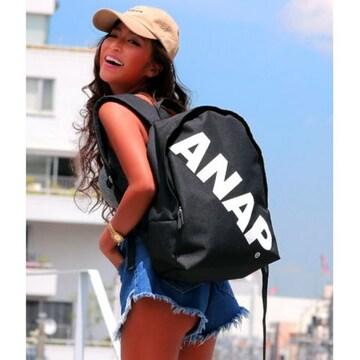 新品ANAP★斜めロゴ リュック 黒 バッグ アナップ
