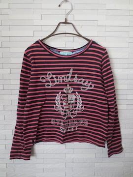 即決/Lindsay/ボーダーロゴ綿長袖Tシャツ/ピンク×紺/M(150)