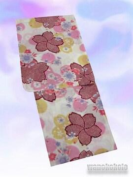 【和の志】女性用浴衣◇生成系・桜柄◇KWF628-43