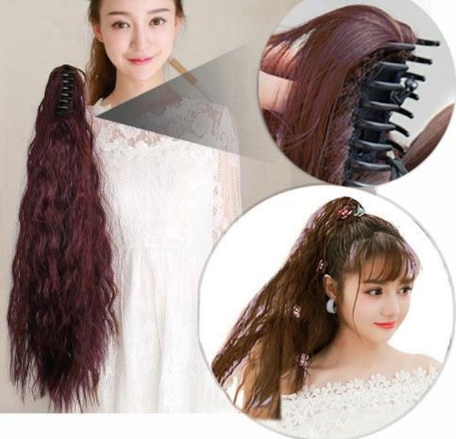 新品【7458】ダークブラウン☆ソバージュ2/33☆クリップ式ポニーテールウィッグ < 女性ファッションの