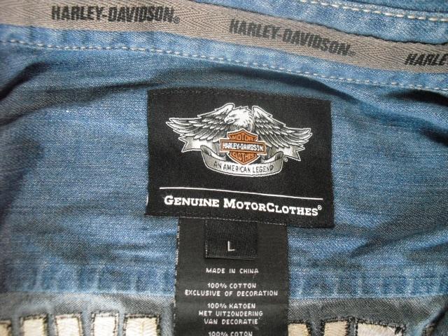 ハーレーダビッドソン デニムシャツ USA-L < 男性ファッションの