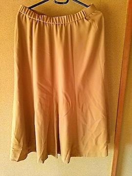 スカート ベージュ W 74〜78 フレアスカート 裏地付き 膝下丈