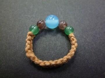 シーブルーカルセドニー スキャポライト マクラメ指輪