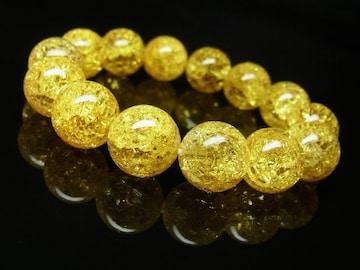 シトリンクラックブレスレット 14ミリ数珠パワーストーン 富をもたらす