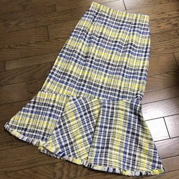 新品ザ ヴァージニア黄色サマーツイードチェック柄スカート36