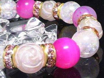 ピンクアゲートアクアクラックバラ彫りローズクォーツ10ミリ数珠