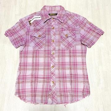 【美品】裾切りっぱなし半袖チェックシャツ/メンズM/パープル/綿