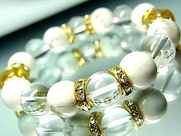 ハウライトホワイトターコイズ§水晶§12ミリ§金ロンデル