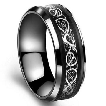 超お買得1490円★ドラゴンチタン指輪ジェットブラック20号