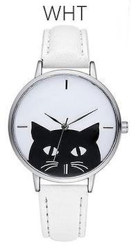 ★黒猫モノトーンシンプルレディース腕時計★WHT