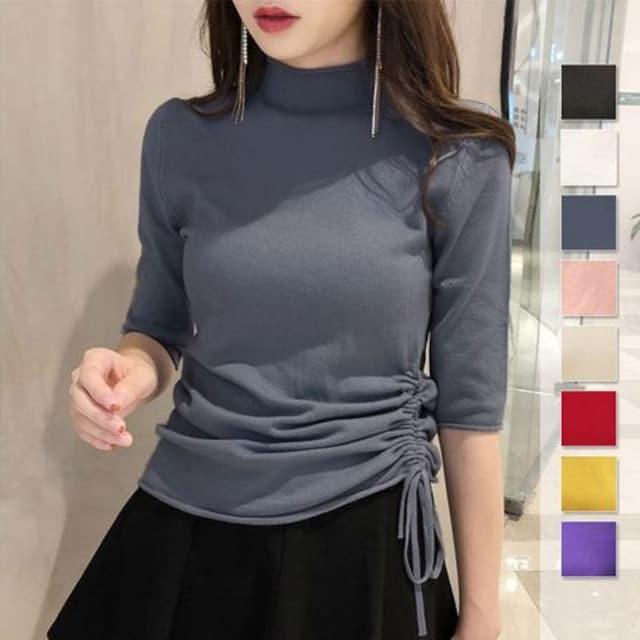 ☆肌触りの良いカシミヤタッチ♪5分袖ハーフタートルネック無地セーター/全8色  < 女性ファッションの