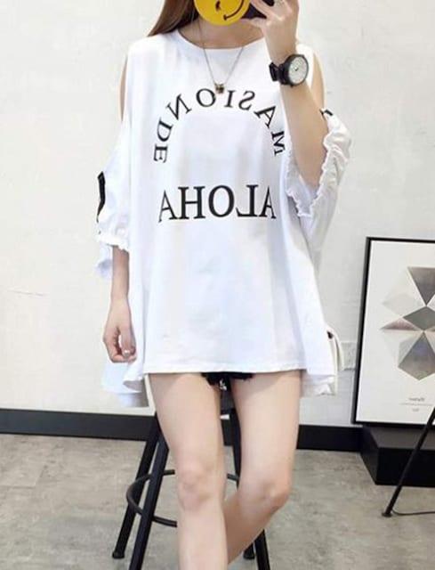 ゆったり着痩せ オフショルダー カットソー(XL寸・白) < 女性ファッションの