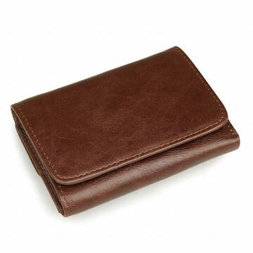 本革 三つ折り財布 小さいのに大容量 コーヒー //b3h